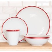 10 Strawberry Street Simply Coupe 16-Piece Dinnerware Set, Red