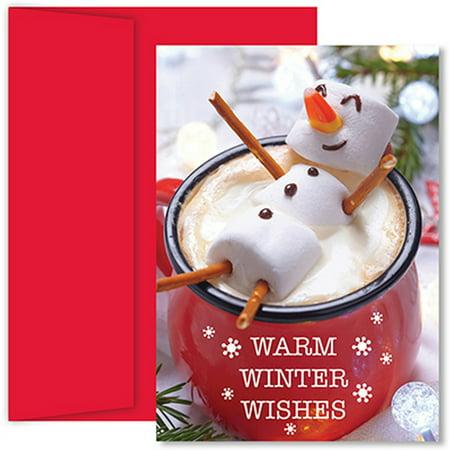 Paper Snowman (JAM Paper® Christmas Card Set, Marshmallow Snowman,)