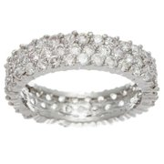Simon Frank 14k White Gold Overlay 3-row CZ Eternity Band Size 9