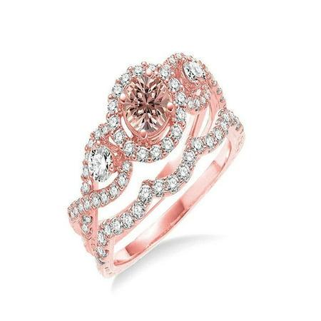 Morganite Wedding Set.Infinity 2 Carat Round Cut Morganite And Diamond Wedding Set In 14k Rose Gold Affordable Morganite And Diamond Engagement Ring