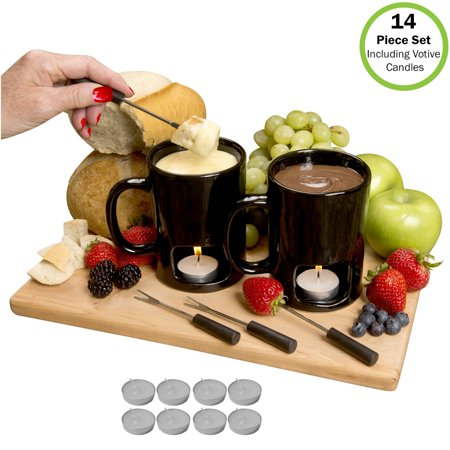 Evelots Fondue Mugs,2 Mugs,4 Forks & 8 Votive Candles-Minor Defects-14 Piece