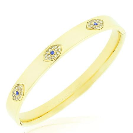 Stainless Steel White Blue CZ Evil Eye Protection Bangle Bracelet, 7.5