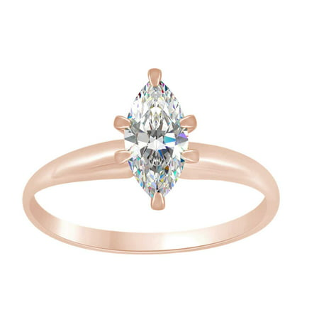 Marquise Shape White Cubic Zirconia Soitaire Engagement Ring In 14k Solid Rose Gold Ring Size-4 ()