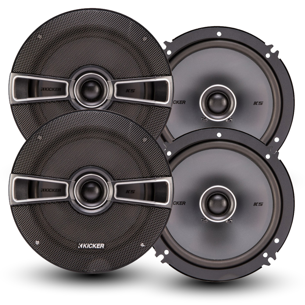Kicker Speaker Bundle - Two pairs of Kicker 6.5 Inch KS-Series Speakers 41KSC654