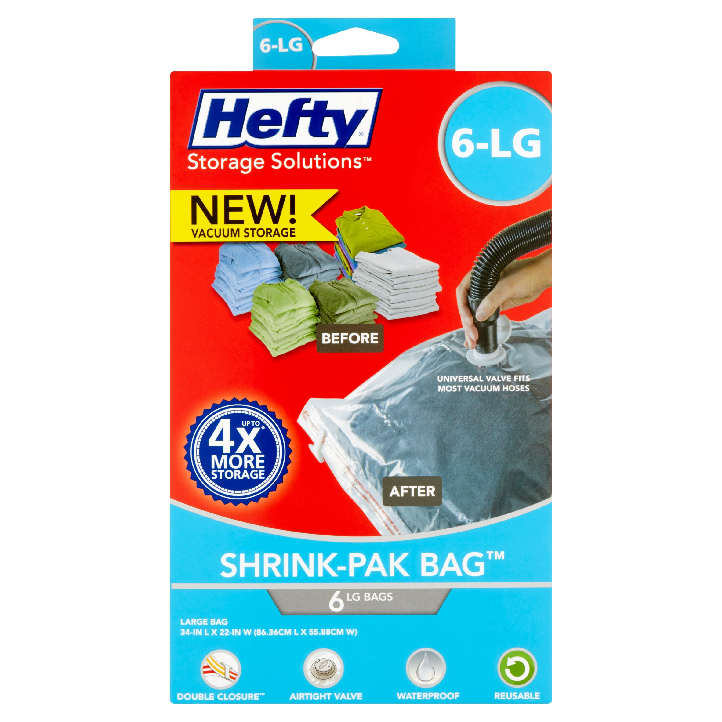 Hefty Shrink-Pak Vacuum Seal Bags, 6 Large Bags