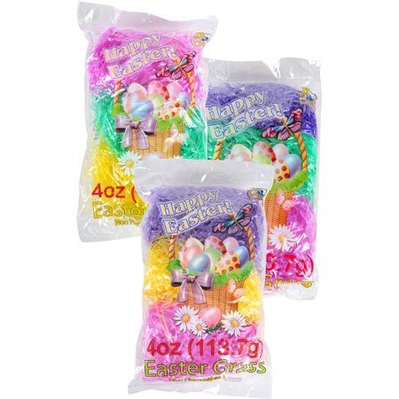 3 Color Easter Gift Supply Nonflammable Grass Spring Basket Fill, 4 Oz - Grass For Easter Baskets