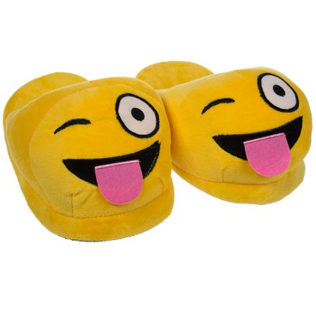 Emoji House Slippers Funny Soft Plush For Adults Kids Teens Bedroom Smiley Comfy Socks Womens