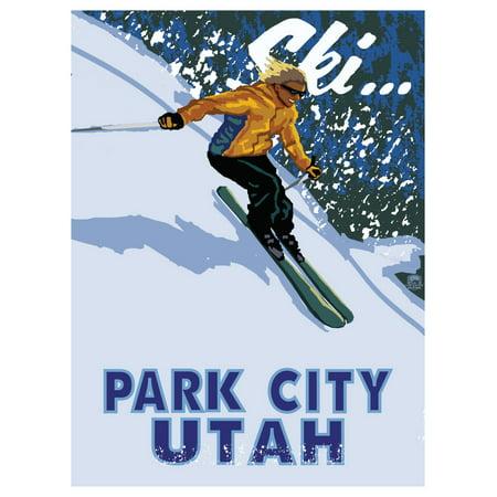 Halloween City Utah (Park City Utah Downhill Modern Girl Skier Travel Art Print Poster by Paul A. Lanquist (9
