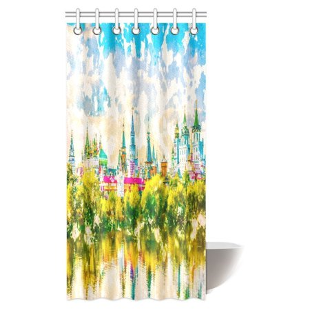 POP Beautiful Landscape with Izmaylovo Kremlin Behind River and Lush Greenery, Moscow Russia Shower Curtain Bathroom Decor 36x72 inch - image 2 de 2