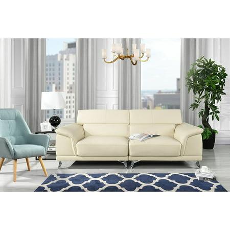 New Modern Living Room Sofa with Adjustable Headrest (Beige)