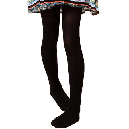 Black Child Striped Stockings (HDE Girl's Stockings Microfiber Opaque Footed Kids Tights (Black,)