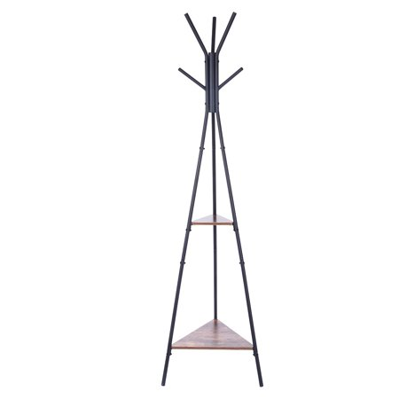 Iuhan Entryway Coat Rack Stand Coat Tree Hall Industrial Style With 2 Shelves