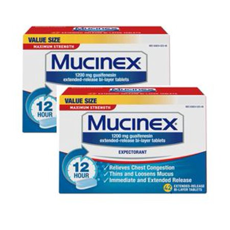 (2 pack) Mucinex Maximum Strength 12 Hour Chest Congestion Expectorant Relief Tablets, 1200 mg, 42 Count, Thins & Loosens