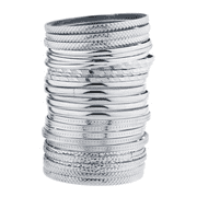 Lux Accessories Silver Tone Multi Textured and Smooth Aztec Bangle Set