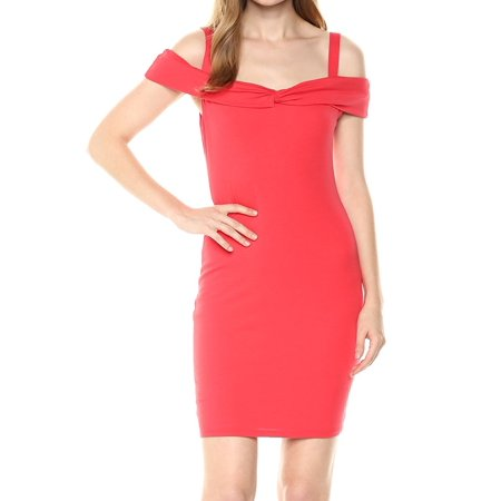 - GUESS Womens Red Cold Shoulder Short Sleeve Square Neck Mini Cocktail Dress  Size: M