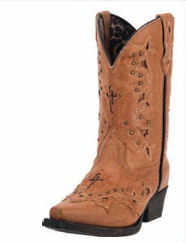 Laredo Western Boots Girls Cowboy 8 Inch Cross Studs Tan LC2283 by Laredo