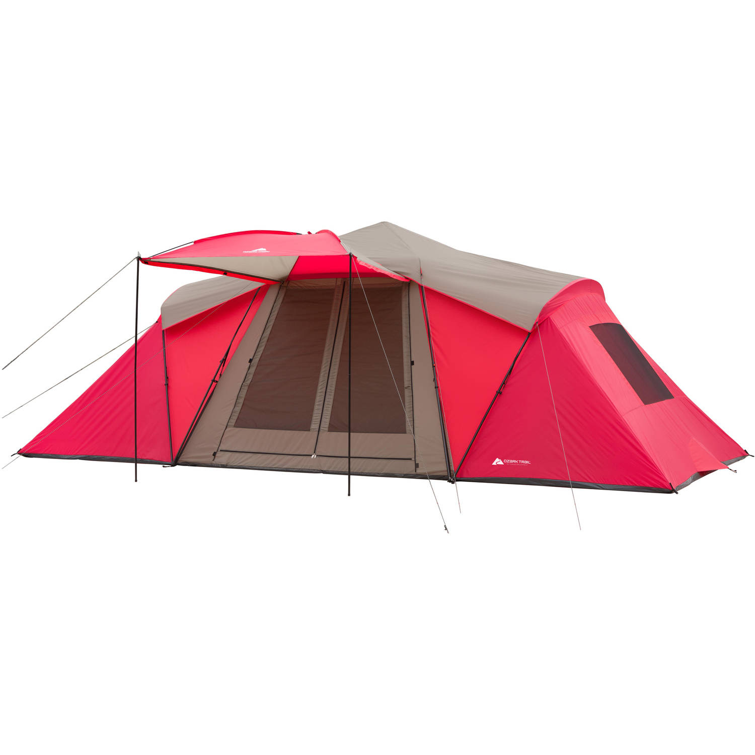 Ozark Trail 21' x 10' 3-Room Instant Tent with Awning, Sleeps 12, Red by