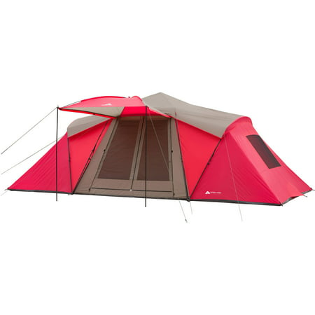 Ozark Trail 21' x 10' 3-Room Instant Tent with Awning, Sleeps 12, Red