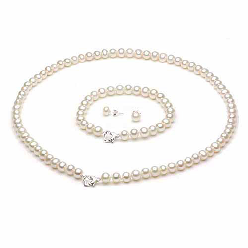 "9-10mm White Freshwater Pearl Heart-Shape Sterling Silver Necklace (18""), Bracelet (7"") Set with Bonus Pearl... by Jacqueline's Collection"