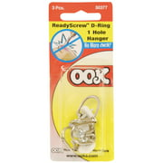 Ook ReadyScrew D-Ring Hangers, 1-Hole, 3/Pkg.