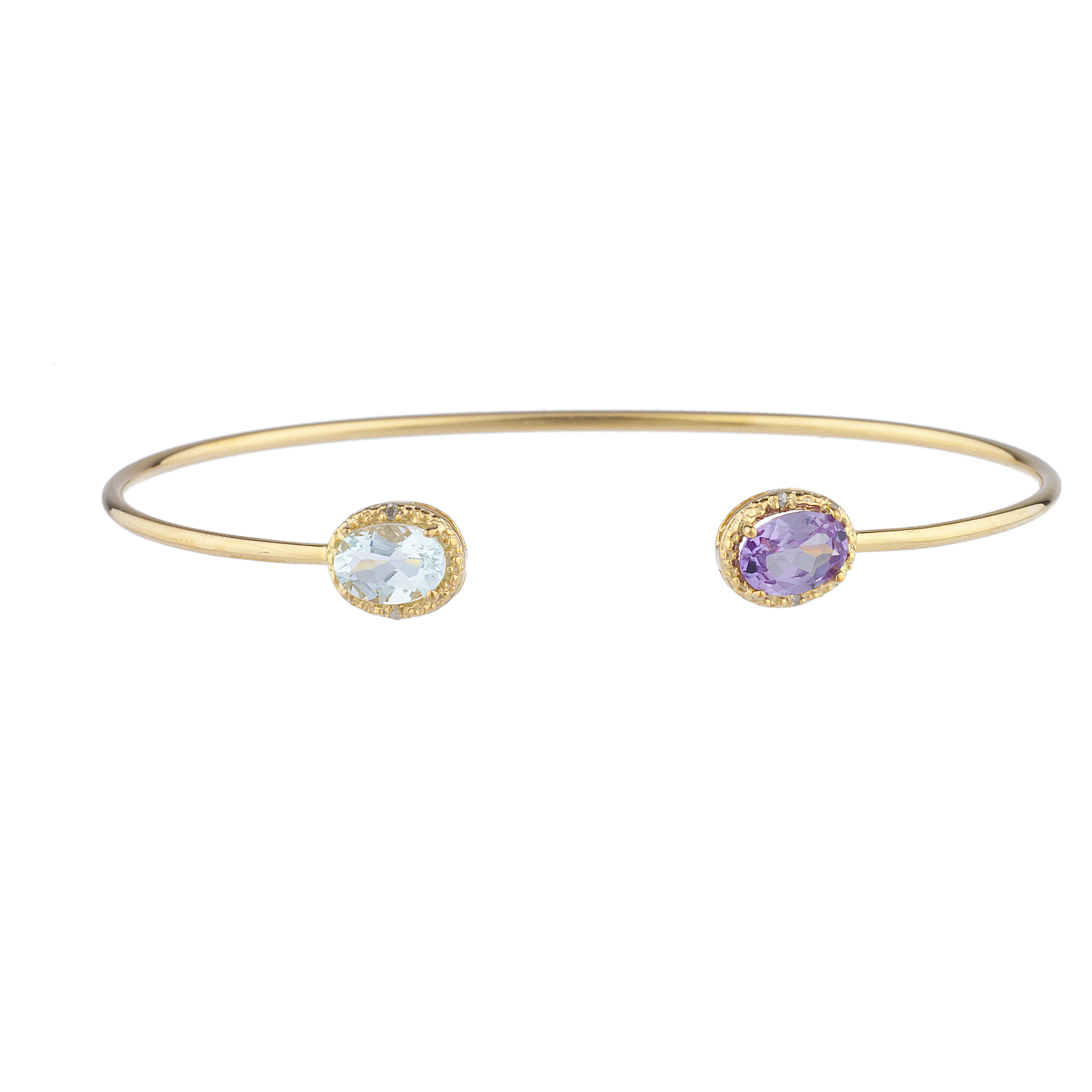 Genuine Aquamarine & Amethyst Diamond Bangle Oval Bracelet 14Kt Yellow Gold Plated Over .925 Sterling Silver by Elizabeth Jewelry Inc
