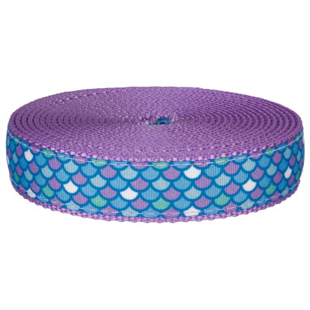 Country Brook Design | 3/4 Inch Mermaid Scales Ribbon on Lavender Nylon Webbing ()