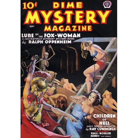 Cover to Dime Mystery Magazine from September 1938 showing  women being whipped as they are chained and pulling oars in the belly of a ship  A skeleton beats a drum to keep rhythm  Art by Monroe