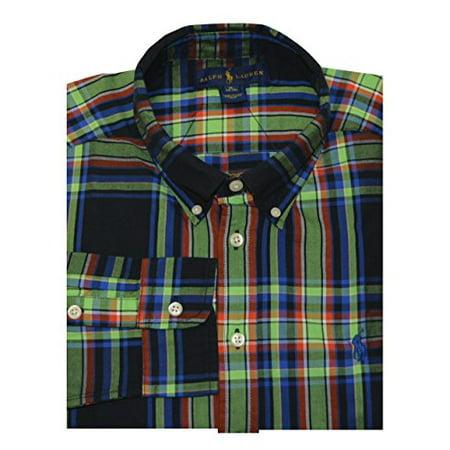 507e6421b Ralph Lauren Boys Blake Plaid Cotton Twill Shirt (XL(18-20), Black Multi) -  Walmart.com