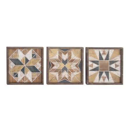 Decmode Farmhouse 15 Inch Square Framed Geometrical Patterns Wooden Wall Decor, Brown - Set of 3 ()