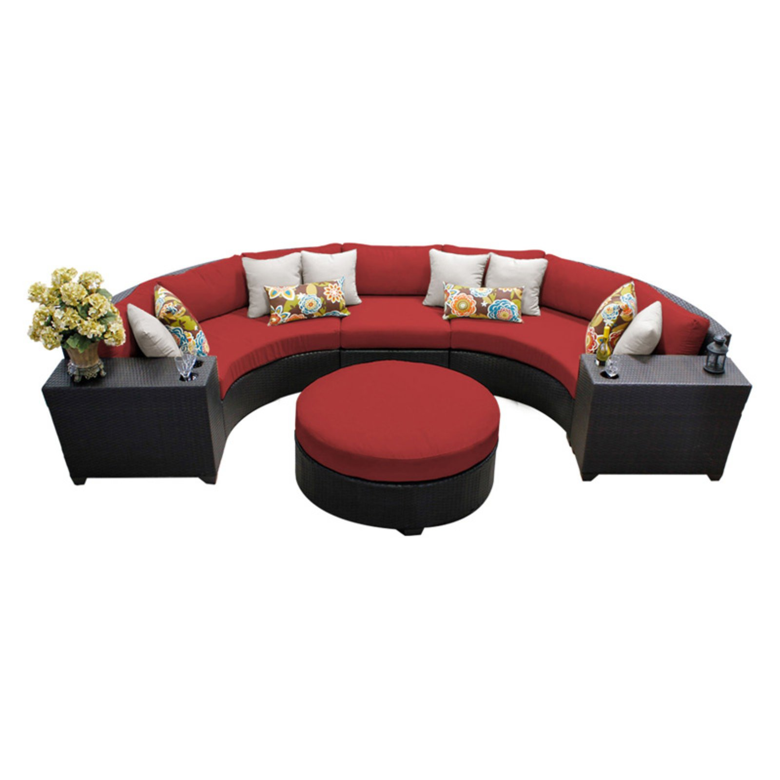 TK Classics Barbados Wicker 6 Piece Patio Conversation Set with Round Coffee Table and 2 Sets of Cushion Covers