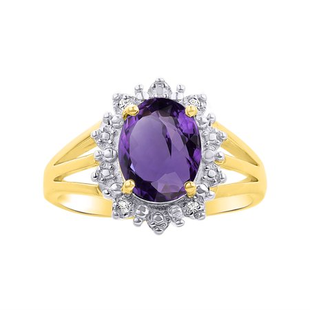 Princess Diana Inspired Halo Diamond & Amethyst Ring Set In Yellow Gold Plated Silver .925