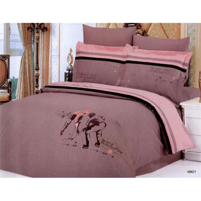 Image of LE129Q Le Vele Full-Queen- 6 Pieces Duvet Cover Bedding Set- Hockey