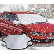 Zento Deals Car Windshield and Side Mirrors Cover Protector from Winter Ice/Snow, Sun UV-Rays, and Scratches– Waterproof and No Leakage with Anti-Theft Design Fire Retardant Black and Silver Color