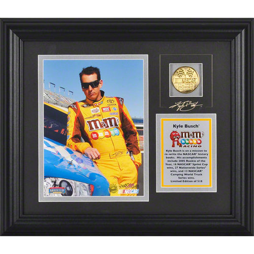 Kyle Busch Framed 6x8 Photograph with Facsimile Signature, Engraved Plate and Gold Coin - LE of 518