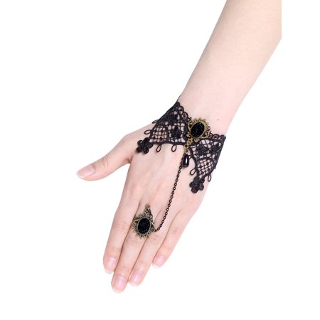Women Halloween Accessories Vintage Bracelet with Finger Ring Black](Marzipan Halloween Fingers)