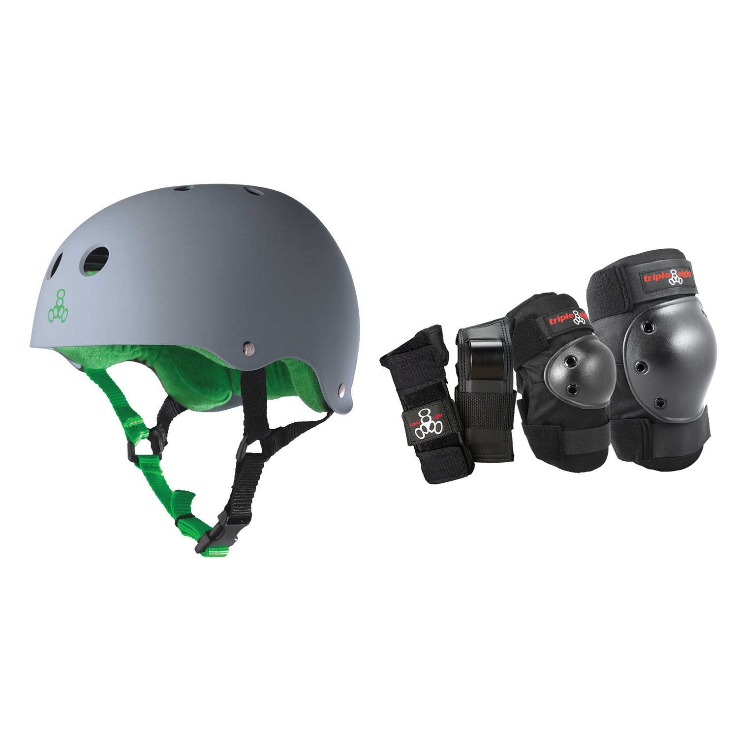 Triple 8 Hardened Skate Helmet with Sweatsaver, Carbon Large + Protective Pads by Triple 8