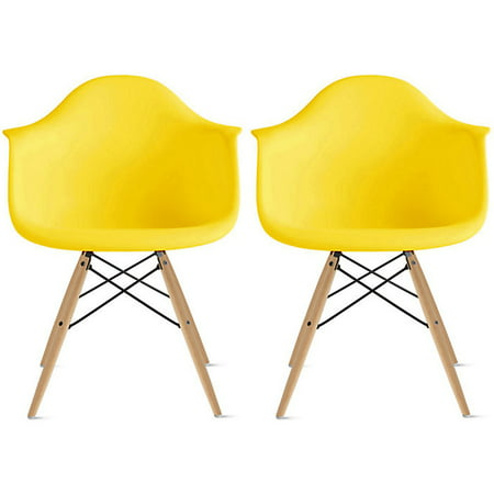 Superb 2Xhome Set Of 2 Yellow Desk Chairs Mid Century Modern Plastic Dining Chair Molded Arms Armchairs Natural Wood Legs Desk No Wheels Accent Designer For Interior Design Ideas Tzicisoteloinfo