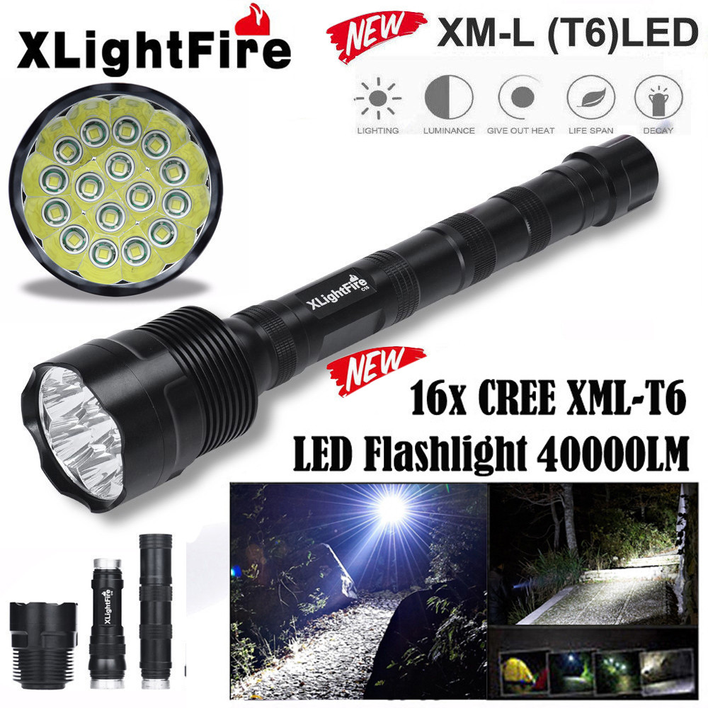 DZT1968XLightFire 16x XML T6 5 Mode 18650 Super Bright LED Flashlight