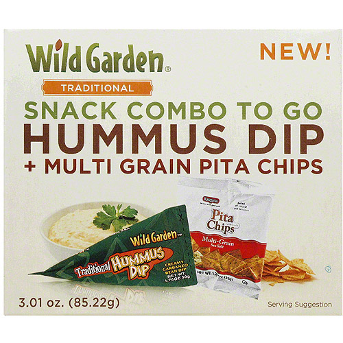 Wild Garden Snack Combo to Go Hummus Dip and Multi Grain Pita Chips, 3.01 oz, (Pack of 6)