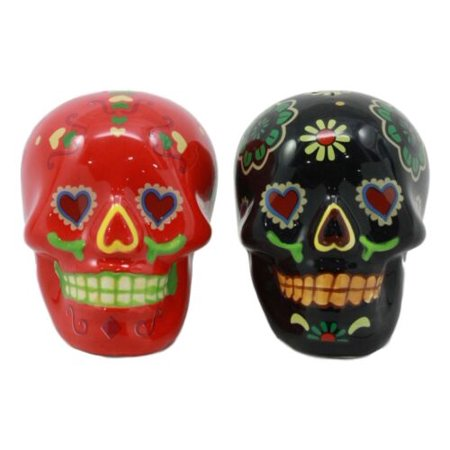 Ebros Love Never Dies Day of The Dead Black and Red Floral Sugar Skulls Salt and Pepper Shakers Set Ceramic Spice Holder Earthenware Kitchen Decor As Dias De Los Muertos Calacas Prop Decorative