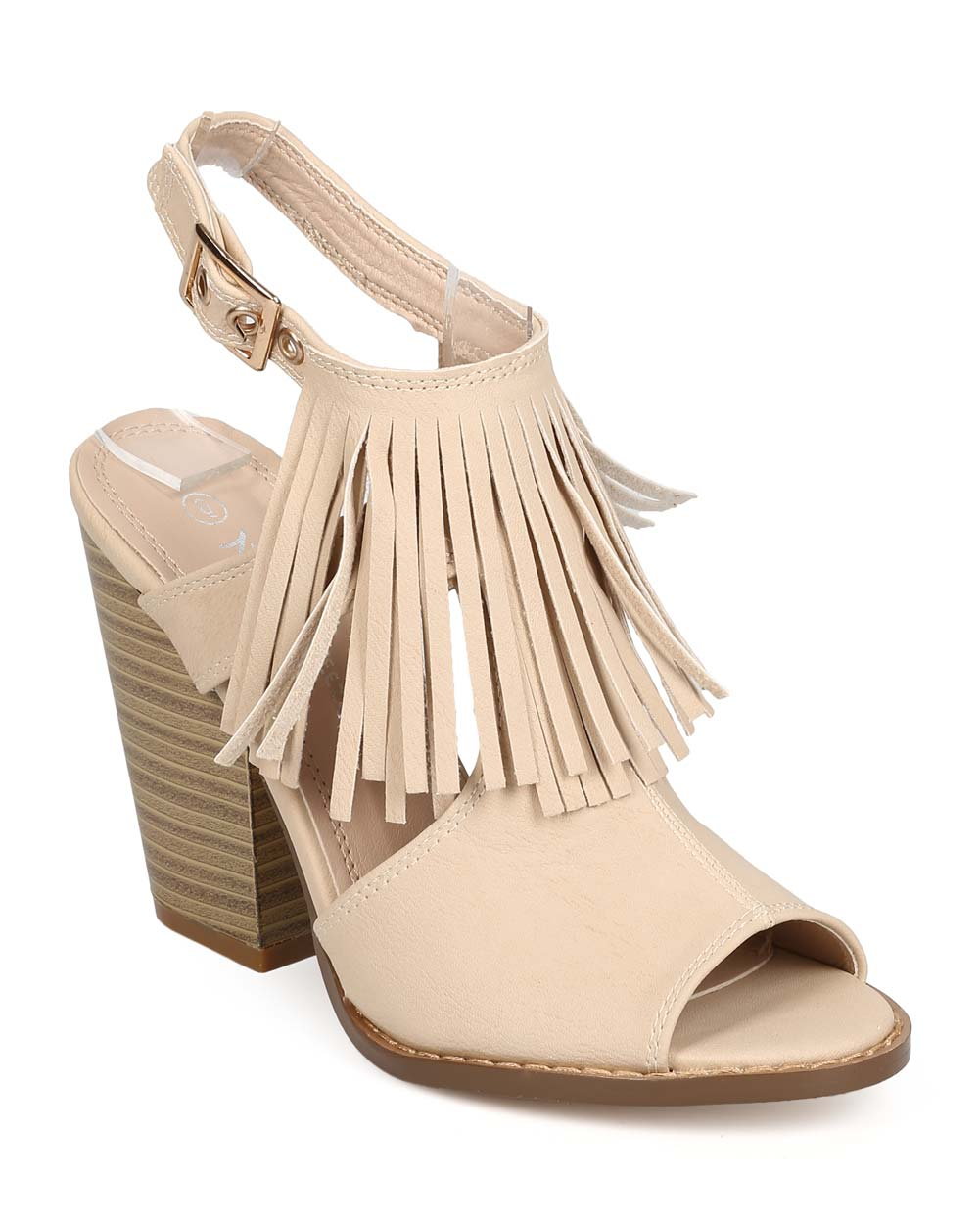 Nature Breeze EB10 Women Leatherette Peep Toe Fringe Block Heel Slingback Mule