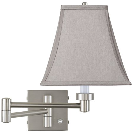 Possini Euro Design Pewter Gray Square Brushed Nickel Swing Arm Wall Lamp