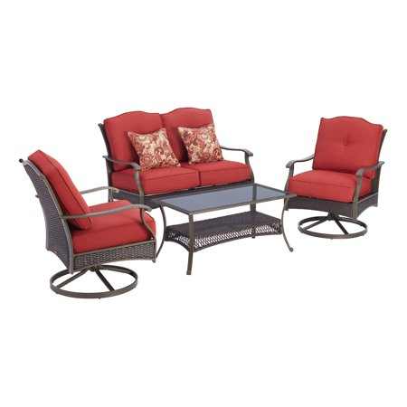 Better Homes & Gardens Providence 4-Piece Patio Furniture Conversation Set, Red, Metal Garden Oasis Patio Furniture