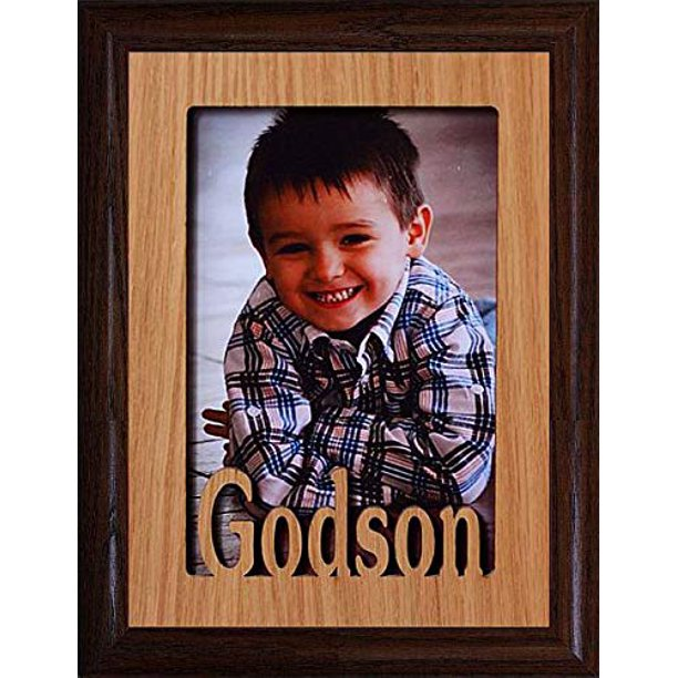 Godson Portrait Picture Frame Holds A 4x6 Or Cropped 5x7 Photo Wonderful Gift For A Godmother Godfather Godparents For A Baptism Christening Walmart Com Walmart Com