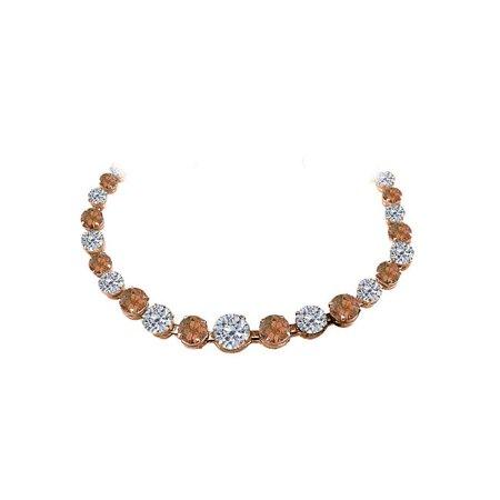 Smoky Quartz & CZ Graduated Necklace 14K Rose Gold
