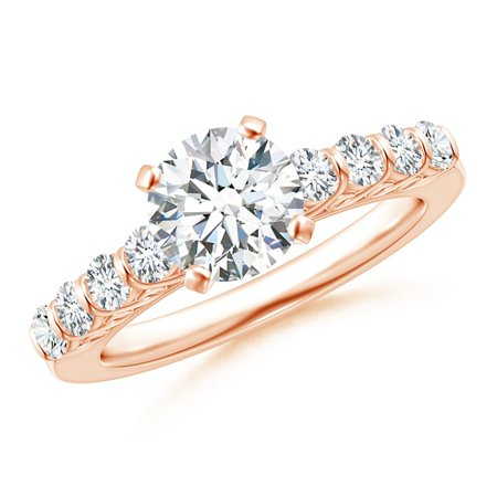 April Birthstone Ring - Bar-Set Diamond Engagement Ring with Scrollwork in 14K Rose Gold (7mm Diamond) - SR1534D-RG-GHVS-7-10