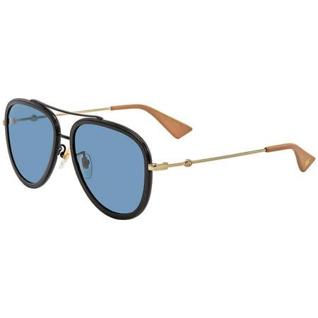 Gucci Ladies Blue Aviator Sunglasses GG0062S01757