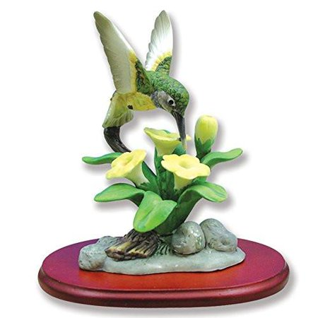 Hummingbird Figurine Porcelain with Buttercup Flower on Wood Base (Wood Hummingbird)