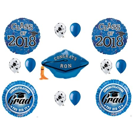 PERSONALIZE! CLASS OF 2018 Blue Graduation Party Balloons Decoration Supplies