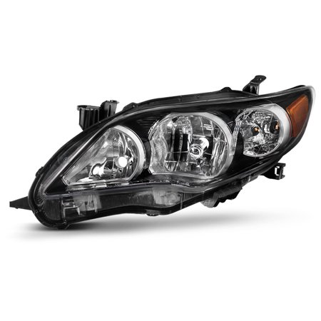 Fits 2011-2013 Toyota Corolla S XRS Driver Left Side Headlight Black Replacement